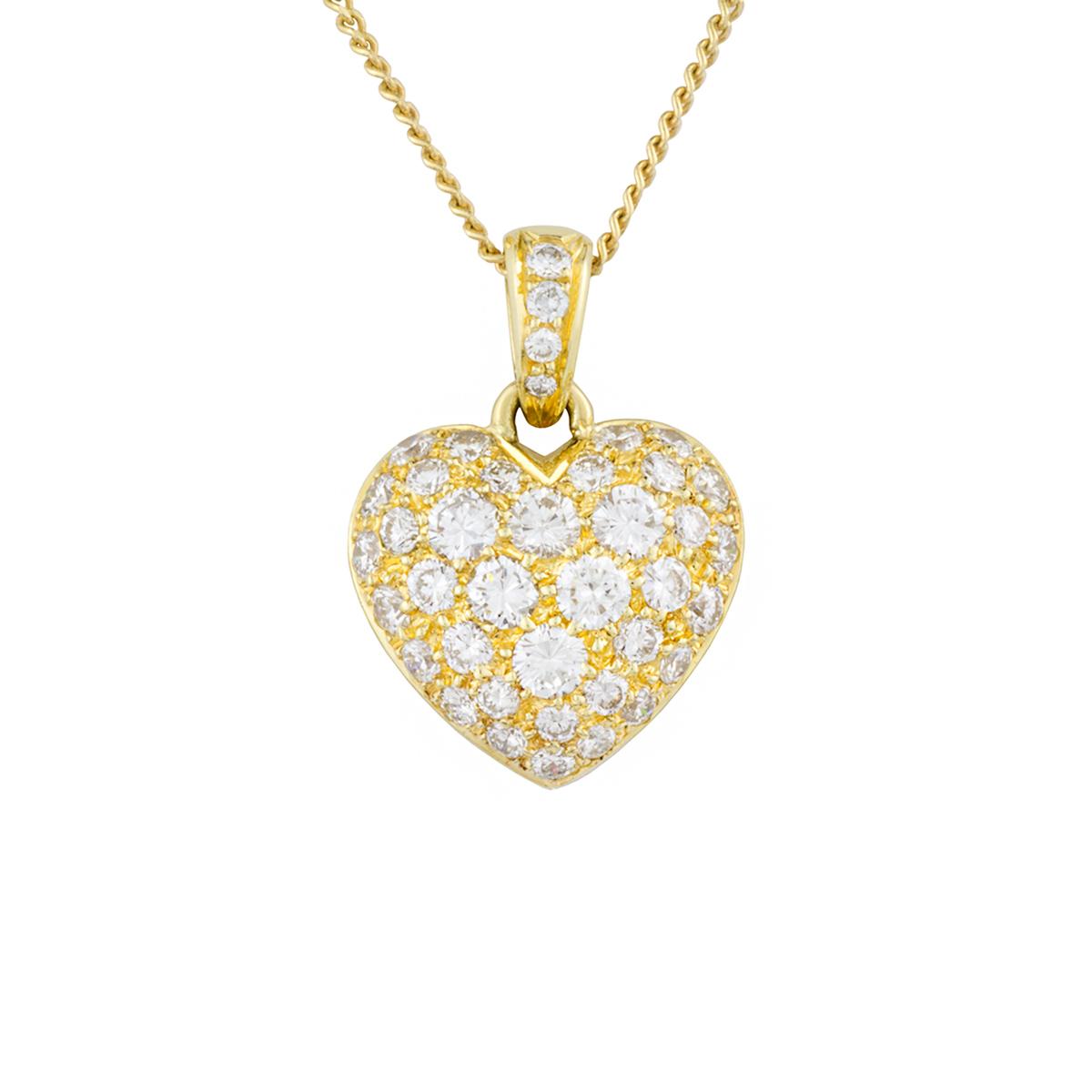 18k Yellow Gold Diamond Set Heart Pendant 0.80ct